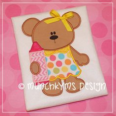 Cute Girl Bear with Crayon Applique by MunchkymsDesign on Etsy, $2.00