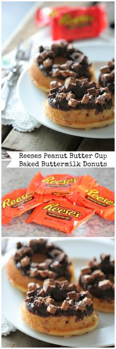 Reeses Peanut Butter Cup Baked Buttermilk Donuts!