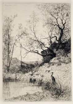 A pond. etching by Adolphe Appian, from The golden age of engraving, by Frederick Keppel, NY, Landscape Drawings, Landscape Art, Landscape Paintings, Art Sketches, Art Drawings, Intaglio Printmaking, Etching Prints, Black White Art, Art Graphique