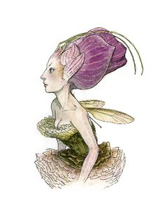 """Orchid Faced Sprite"" pen, ink, & acryligouache on paper 12 x by Tony DiTerlizzi. Woodland Creatures, Magical Creatures, Fantasy Creatures, Arte Elemental, Spiderwick, Kobold, Elves And Fairies, Flower Fairies, Fairy Art"