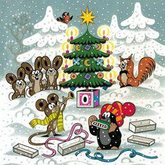 (2015-02) Muldvarpen og musen spiller musik foran juletræet, mens harerne og…