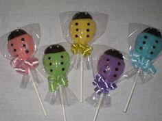 pastel lady bug chocalate lollipops | Ladybug Baby Shower Chocolate Lollipops by TheSweetsMaster on Etsy, $ ...