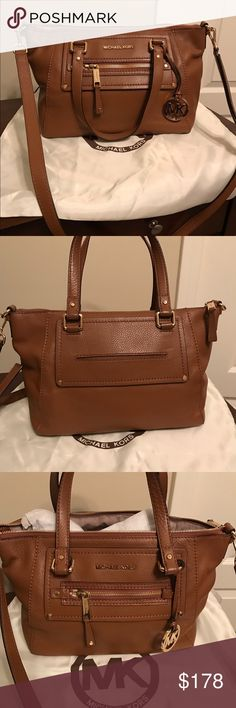 "Michael Kors Gilmore East/West Satchel The perfect bag! Can be carried cross body or over the shoulder. The bag is in a beautiful luggage color and is in excellent used condition. When it has not been used, it's been kept in its dust bag, which comes with the purse. Measurements 12.5 W x 10.5 H x 6 D. Strap drop is 8"" for the shorter double straps, 22"" cross body MICHAEL Michael Kors Bags Satchels"