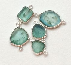 5 pcs Rare Blue Green Tourmaline Slice Connectors by gemsforjewels