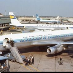 "KLM Royal Dutch Airlines Douglas and Lufthansa Boeing ""Intercontinental Jet"" at Idlewild Airport (later renamed JFK), New York Jets, Air Company, Mcdonald Douglas, Douglas Dc 8, Douglas Aircraft, Boeing 707, Passenger Aircraft, Air Photo, Aviation Industry"
