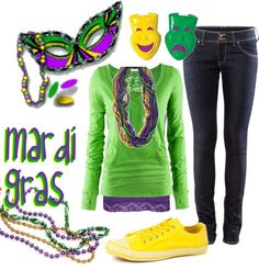 """Mardi Gras!"" by miranda7rose ❤ liked on Polyvore"