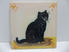 "Vintage Art Tile BLACK CAT Hand Painted PORTUGAL 5.75"""
