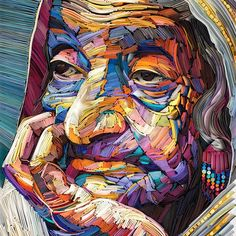 Using vibrant colored paper, artist Yulia Brodskaya, creates detailed three-dimensional portraits that reflect the nuanced beauty found in old age. The portraits resemble oil and acrylic painting (especially from a distance), but with a textured paper Art And Illustration, Art Inspo, Kunst Inspo, Arte Pop, Pop Art, L'art Du Portrait, Color Portrait, Colossal Art, Paper Artwork