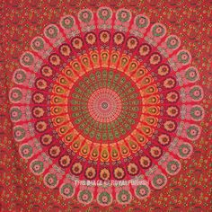 Large Red Floral Indian Psychedelic Mandala Tapestry Wall Hanging Bedspread Bedding on RoyalFurnish.com, $19.45