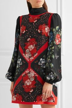 Alexander McQueen - Printed Silk Crepe De Chine Mini Dress - Black - IT46
