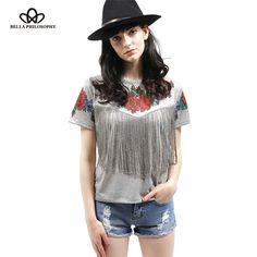 summer new Women wholesale short sleeve chest tassel fringed roses floral printed crew neck grey Tribal High Street t shirt