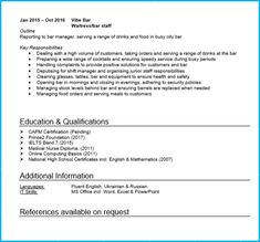 Resume For Waitress Position Enchanting Cv Profile Position  Standout Cv Blog  Pinterest  Cv Examples .