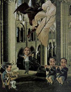 Jacques Prévert. Cité Veron, Extreme Unction, Let it Come to Me, Oratorio, Appearance of Sprite (St. Guenolé), Garden Party, Charlie Chaplin I, Moon Face, Visage Papillon, The Last Few Men (top to bottom). Collage. 1950s-60s.