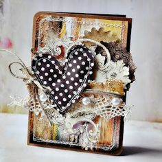Encza ATC? or Card? with Fabric heart & lace...