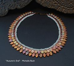 Autumn's End - Original, One-of-a-kind Bead Woven Necklace by Michelle Bush