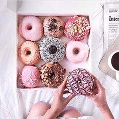 pink donuts / photography tips / cool stuff / trending / instagram ideas / photo filters / photo editing / color schemes / vibes / mood board / film pictures / pink / branding