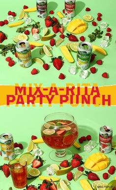 This easy punch is PERFECT for your Fourth of July party! 1) In a pitcher or punch bowl, mix all four Ritas. 2) Add orange juice, cranberry juice and pineapple juice. 3) Pour over ice into individual glasses and garnish with fresh fruit and a mint leaf.