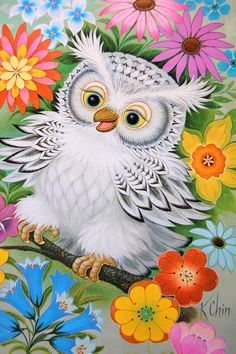 K Chin White OWL Art Print Poster Litho USA Flowers Retro Donald Art Co 1973