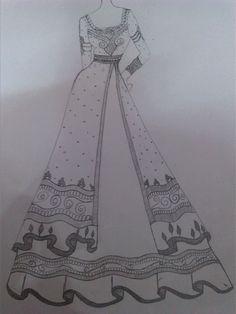 Elegance floor length anarkali sharara wedding season in 201 Dress Design Drawing, Dress Design Sketches, Fashion Design Sketchbook, Dress Drawing, Fashion Design Drawings, Fashion Sketches, Fashion Drawing Dresses, Fashion Illustration Dresses, Fashion Dresses