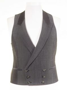 Ex-Hire Double Breasted Morning Suit Waistcoats - Silver Grey - ALL SIZES.  Quality 7b09206c098