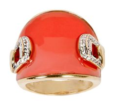 14K Yellow Gold Ring Coral And Diamond couture ring containing 5.50ct Natural Coral and .16ct tw pave set Diamonds  OKG Jewelry - Little Neck Jewelry Services - Bayside New York Jewelry - Custom Design Jewelers