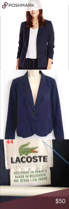 733eccca1feb2 Lacoste preppy navy blue 100% cotton blazer sz 44 DESIGNED IN FRANCE LACOSTE  BLAZER WOMEN'S