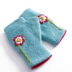 Reversible fingerless mitts...love the construction and the embellishments!
