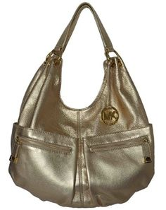 Michael Kors Pale Gold Pebbled Leather LAYTON « Clothing Impulse