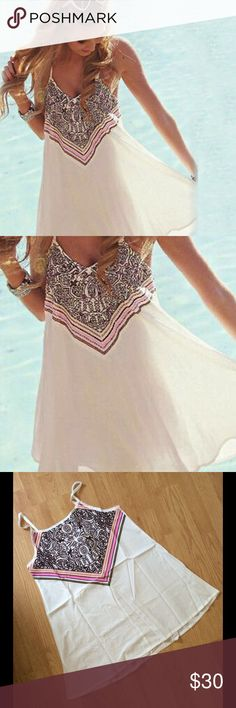 NWT White Pink Brown Summer Dress Large: 33/36C to 33/36DD 29/30 waist 38/39 hips Medium: 33/36B to 33/36C 27/28 waist 36/37 hips Dresses Mini
