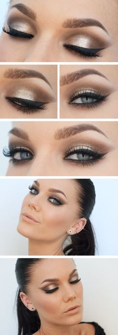 Shimmery smokey eye, very beautiful~ she has probably one of the most perfect faces I've ever seen. Every feature is flawless perfection. Makeup is gorgeous too