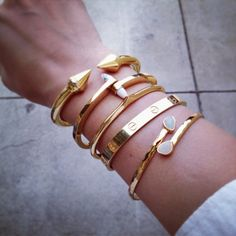 Golden arm candy I stacked #bracelets