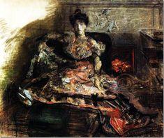 После концерта. Портрет Н.И.Забелы-Врубель у камина в туалете, исполненном по замыслу художника. 1905