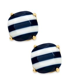 """Get your nautical on with these smart sailor-inspired striped stud earrings designed by kate spade new york and set in 14k gold-plated metal. Approximate diameter: 1/2"""".   Photo may have been enlarged"""