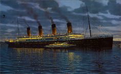 """Wednesday, April 10, 1912, 6:30 PM  Titanic makes her first stop at Cherbourg, France. The docks are too small for Titanic, so her passengers are ferried onto the ship from S.S. Nomadic and S.S. Traffic. This is the port where the famous """"Unsinkable"""" Molly Brown boards Titanic."""