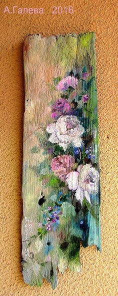 Tole Painting, Painting On Wood, Painting & Drawing, Acrylic Painting Techniques, Rustic Art, Pallet Art, Driftwood Art, Painting Inspiration, Flower Art