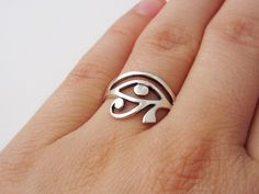 Egyptian Eye of Horus Ring - 925 Sterling Silver Jewelry by charmphilosophy on Etsy https://www.etsy.com/listing/250024656/egyptian-eye-of-horus-ring-925-sterling