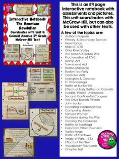 American Revolution Interactive Notebook 4th - 6th grades. Includes activities, assessments, and an answer key with pictures of each activity. Some topics covered included many Ohio River Valley, Choosing Sides (Loyalists, Patriots, Undecided), British Taxes, Battles, and Treaty of 1793. Product coordinates with McGrawHill but can be used with any text. $