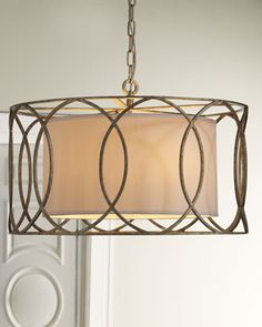 "Pendant light made of wrought iron. Metal is hand worked to achieve unique detailing. Linen shade. Uses five 60-watt bulbs. 24.5""Dia. x 14.5""T with 6'L chain. Imported. Boxed weight, approximately 25 lbs.  More ▾ COLOR: LIGHT GOLD  Sausalito Five-Light Pendant Light  Price:  $950.00 Shipping Only:  $145.00"