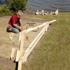 Build Trusses On the Shed Floor - DIY Storage Shed Building Tips: http://www.familyhandyman.com/sheds/diy-storage-shed-building-tips#10