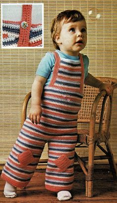 Baby Dungarees and Jacket Crochet Instant by VintagelyPatternly