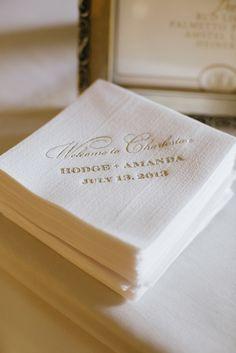 Elegant gold and white cocktail napkins, photo by Paige Winn Photo | via junebugweddings.com