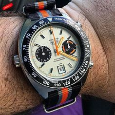 A gorgeous vintage Autavia Heuer of @bcmwatches on a WatchObsession NATO, looks perfect 👍😍👍😍👍#vintage #autavia #heuer #nato #natostrap #watch #watchstrap #thewatchobsession