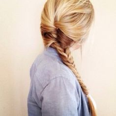 Blonde+long hair+fishtail=<3
