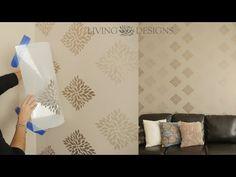Técnica para pintar paredes con plantillas decorativas a dos tonos - YouTube