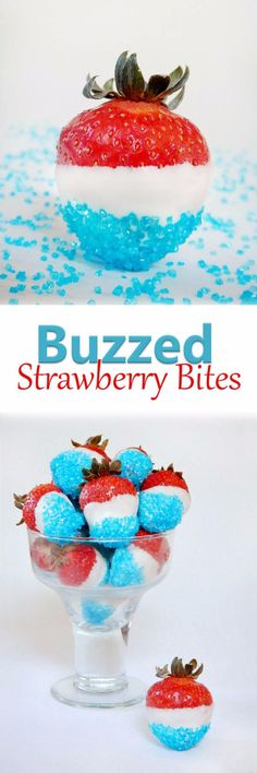 Best Fourth of July Food and Drink Ideas - Buzzed Strawberry Bites - BBQ on the 4th with these Desserts, Recipes and Ideas for Healthy Appetizers, Party Trays, Easy Meals for a Crowd and Fun Drink Ideas http://diyjoy.com/diy-fourth-of-july-party-ideas