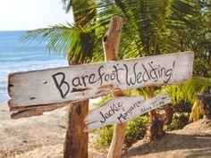 Destination wedding must have: A barefoot wedding sign! Love this idea. #destination #BeachWedding