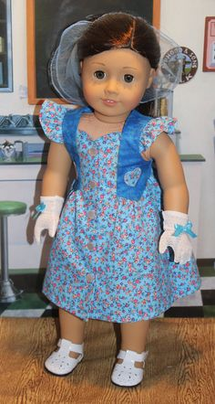 Summer Dress Nylon Scarf and Gloves for 18 inch Dolls by App2quilt
