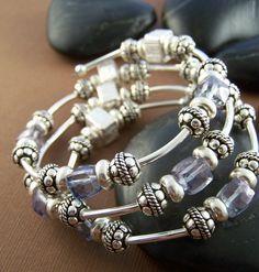 Jerri Memory Wire Bracelet Sterling Silver by StoneStreetStudio