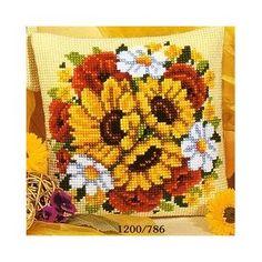 Sunflower & Poppy Chunky Cross Stitch Cushion Front Kit: Amazon.co.uk: Kitchen & Home £22.99