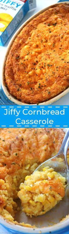 Jiffy Cornbread Casserole - CincyShopper Jiffy Cornbread, Cornbread Casserole, Casserole Dishes, Cornbread Pudding, Cornbread Recipes, Side Dishes Easy, Side Dish Recipes, Thanksgiving Recipes, Holiday Recipes